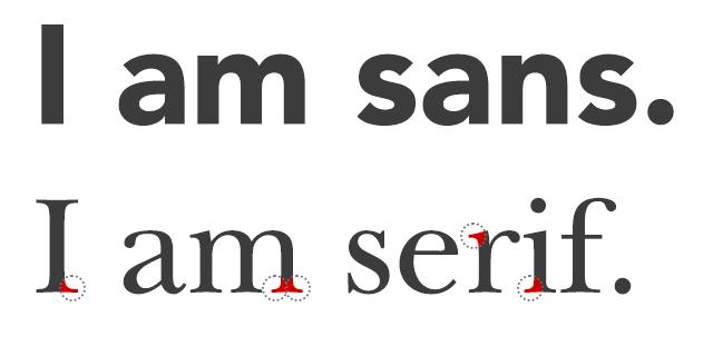 Rozdiel medzi pätkovým a bezpätkovým písmom.