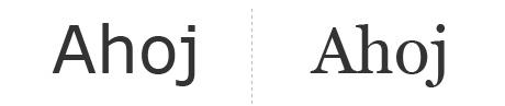 Porovnanie fontu Verdana a Gergia.
